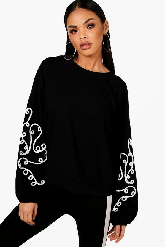 Sofia Embroidered Balloon Sleeve Sweatshirt