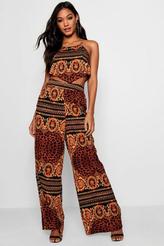 Bonnie Animal Scarf Print Top and Trouser Set