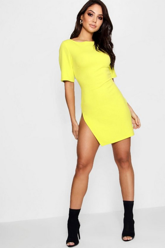 Rhea Short Sleeve Thigh Split Bodycon Dress