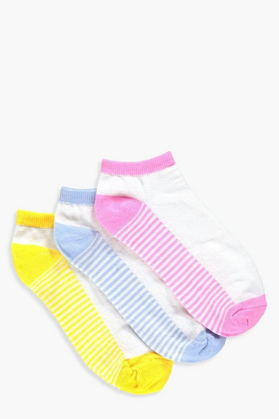 Kelly 3 Pack Stripe Sole Trainer Socks
