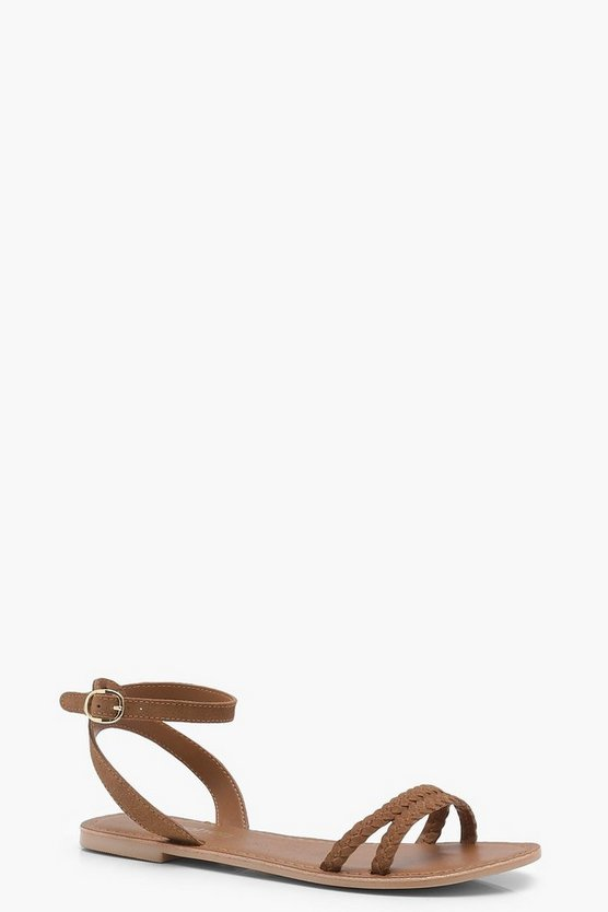 Plaited 2 Part Suede Sandals