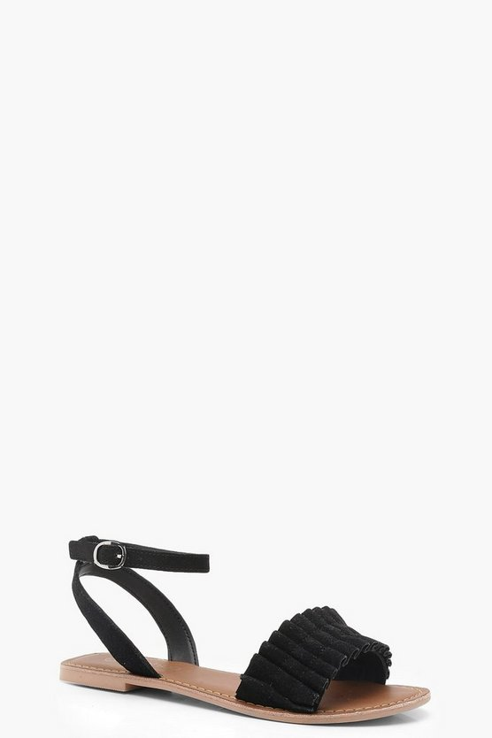 Amy Frill Detail Ankle Strap Suede Sandals