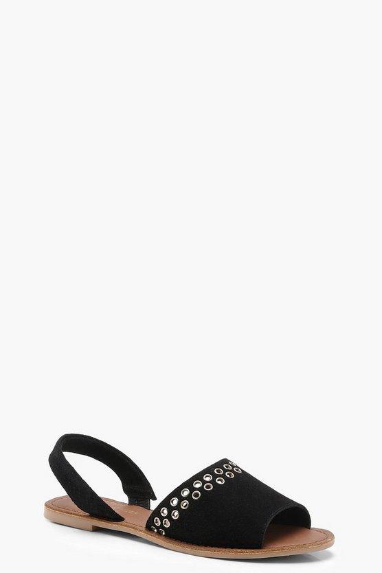 Peeptoe Two Part Suede Eyelet Trim Sandals