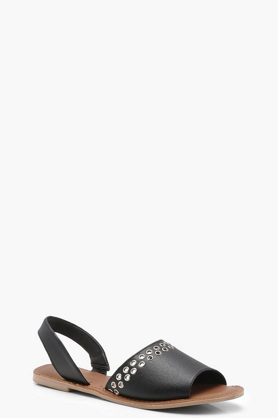 Peeptoe Two Part Leather Eyelet Sandals