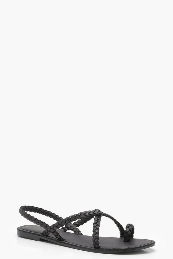 Paige Plaited Strap Leather Sandals by Boohoo