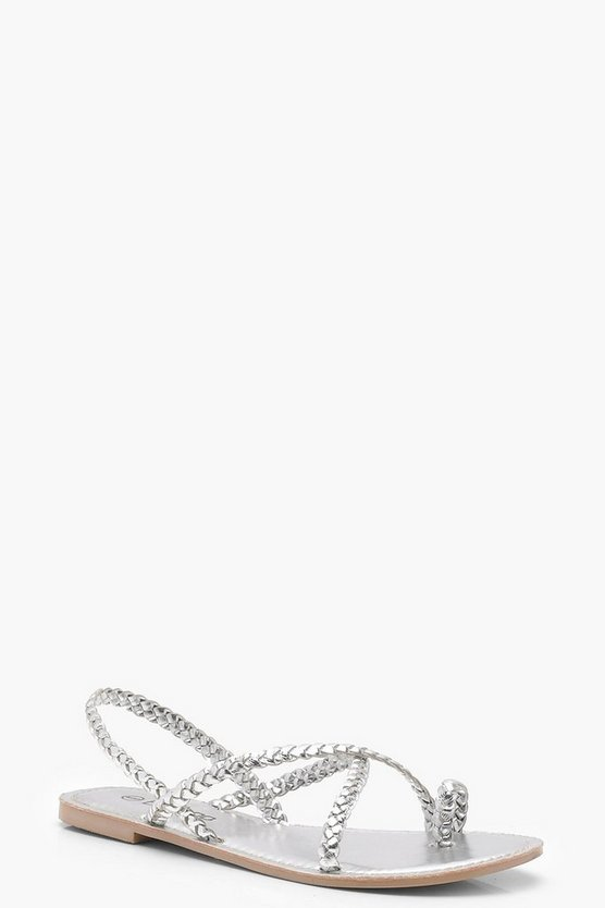 Plaited Strap Leather Sandals