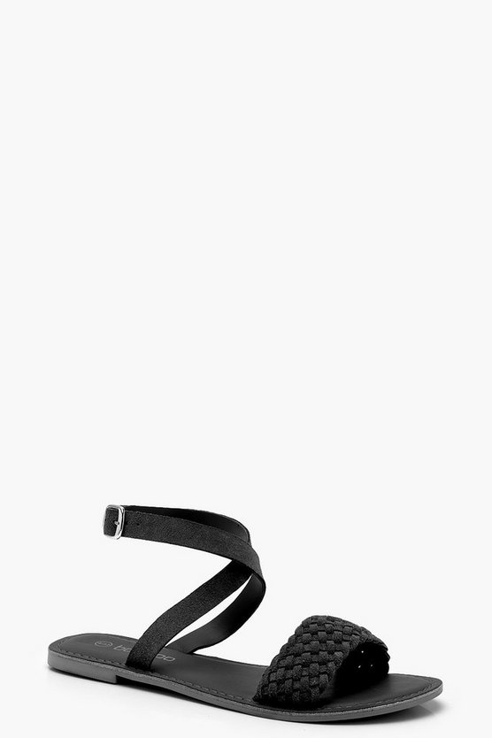 Plaited Cross Ankle Strap Suede Sandals