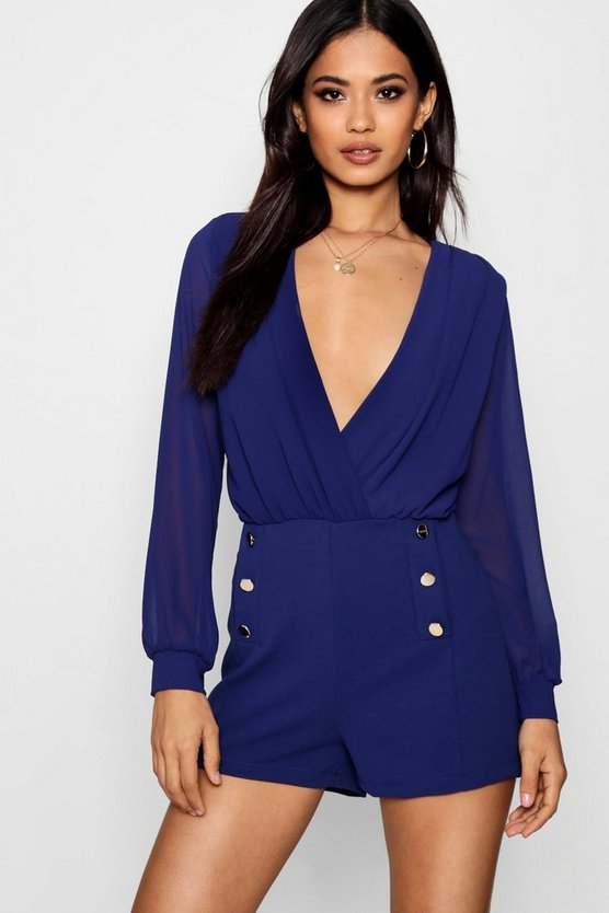 Bethany Military Button Playsuit