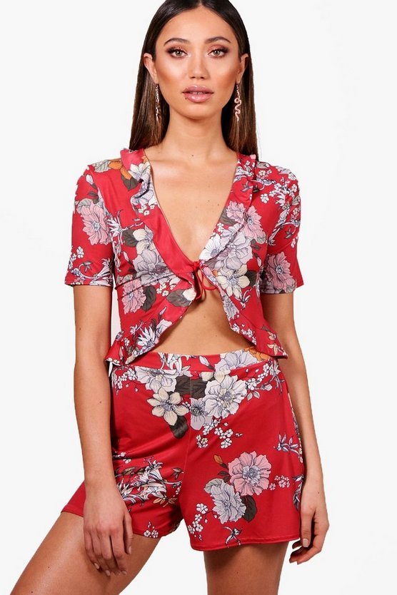 Evie Ruffle Cut Front Floral Playsuit