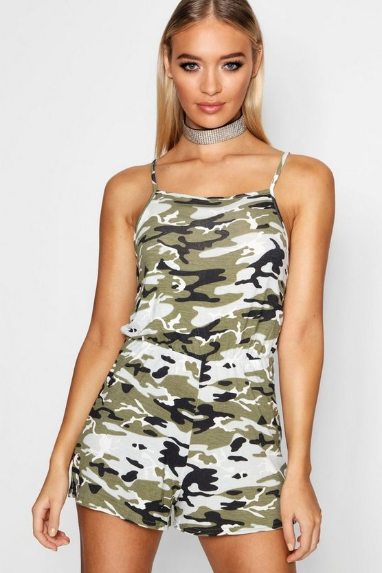 Gracie Camo 90's High Neck Playsuit