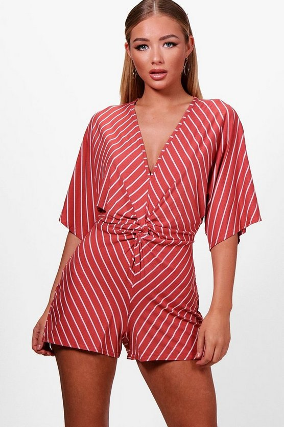Knot Front Kimono Striped Playsuit