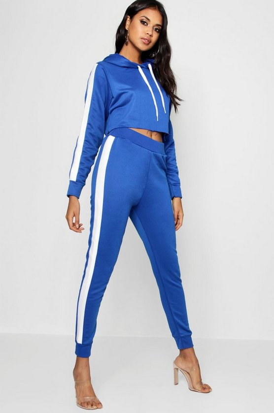 Cleo Athleisure Stripe Side Hooded Tracksuit
