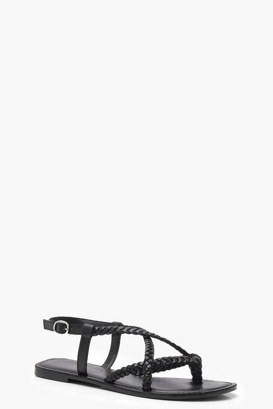 Sofia Plaited Cross Strap Leather Sandals