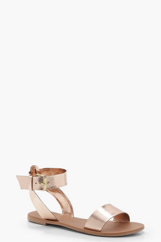 Two Part Ankle Strap Leather Sandals