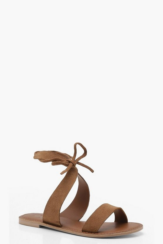 Brooke Tie Back Suede Sandals