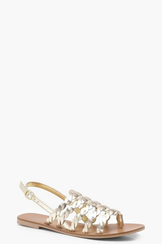 Plaited Multi Strap Leather Sandals