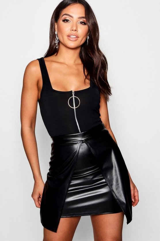 Trudy Leather Look Split Layer Mini Skirt