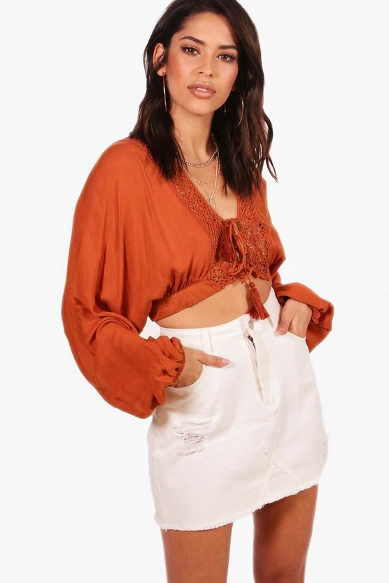 Sophia Cheese Cloth Balloon Sleeve Lace Up Crop