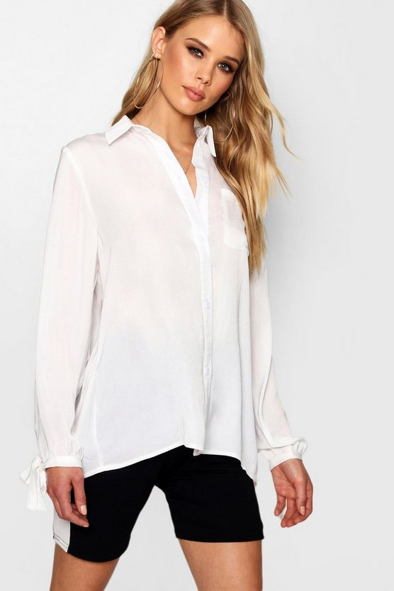 Sian Tie Cuff Oversized Shirt by Boohoo