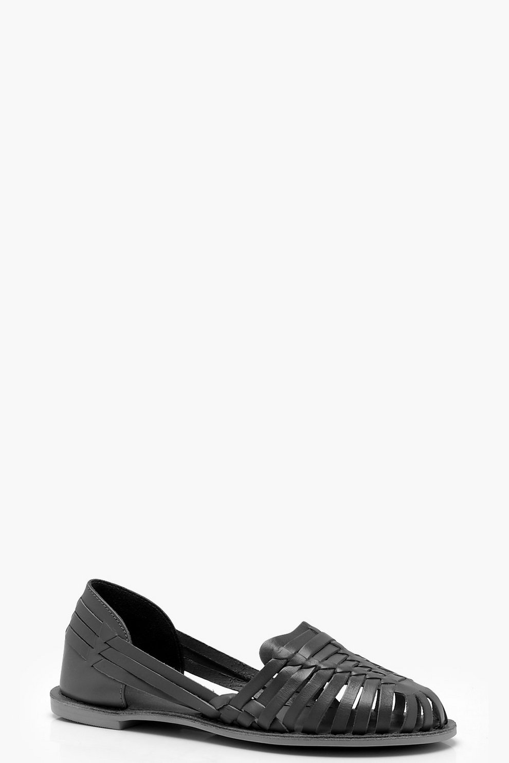 Esme Wide Fit Leather Woven Ballets by Boohoo