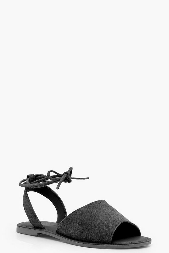 Eva Wide Fit Leather Peeptoe Wrap Ankle Strap Sandals