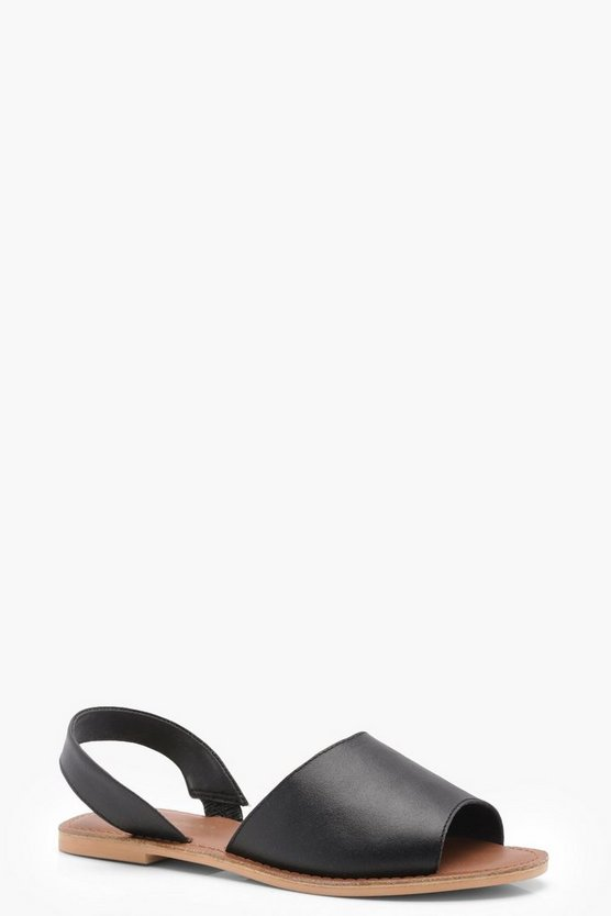 Wide Fit 2 Part Peeptoe Leather Sandals