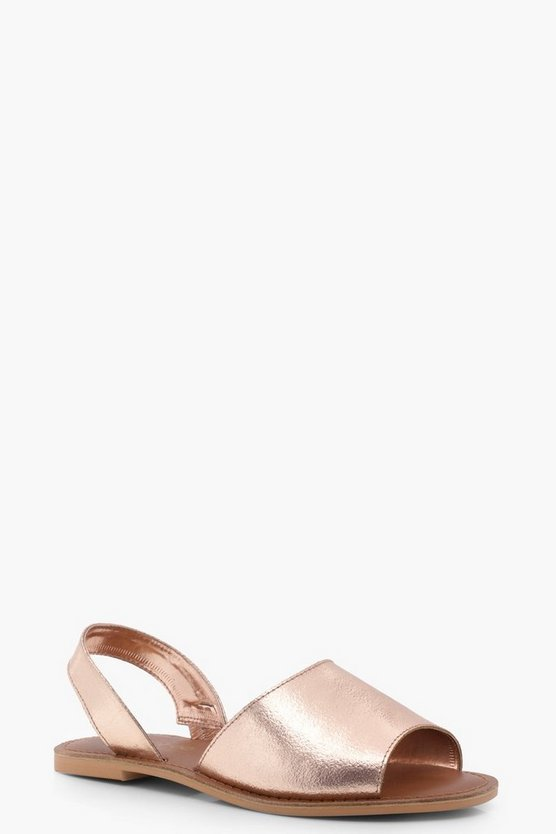 Wide Fit 2 Part Metallic Leather Sandals