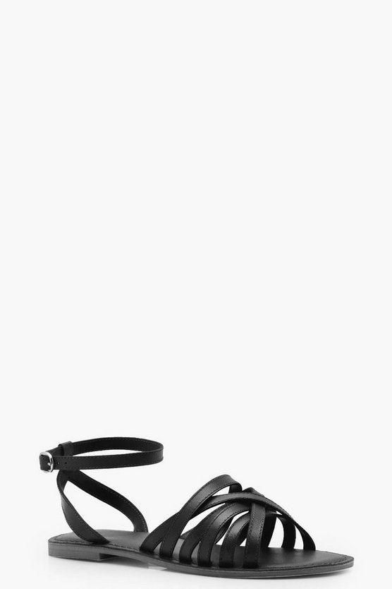 Lola Wide Fit Cross Strap Leather Sandals