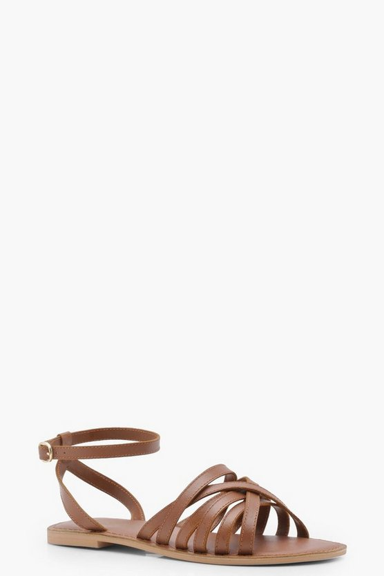 Wide Fit Cross Strap Leather Sandals