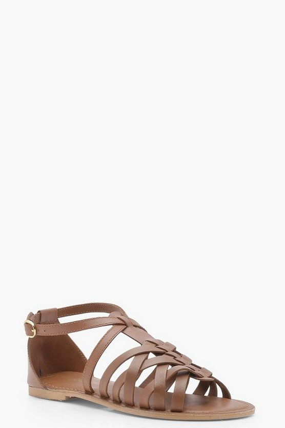 Tia Wide Fit Leather Woven Gladiator Sandals
