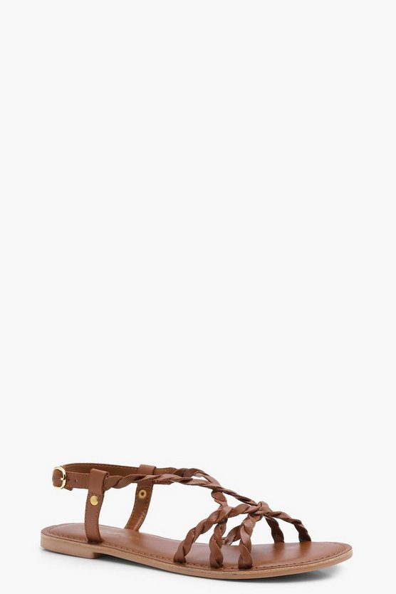 Heidi Wide Fit Leather Pleated Strap Sandals