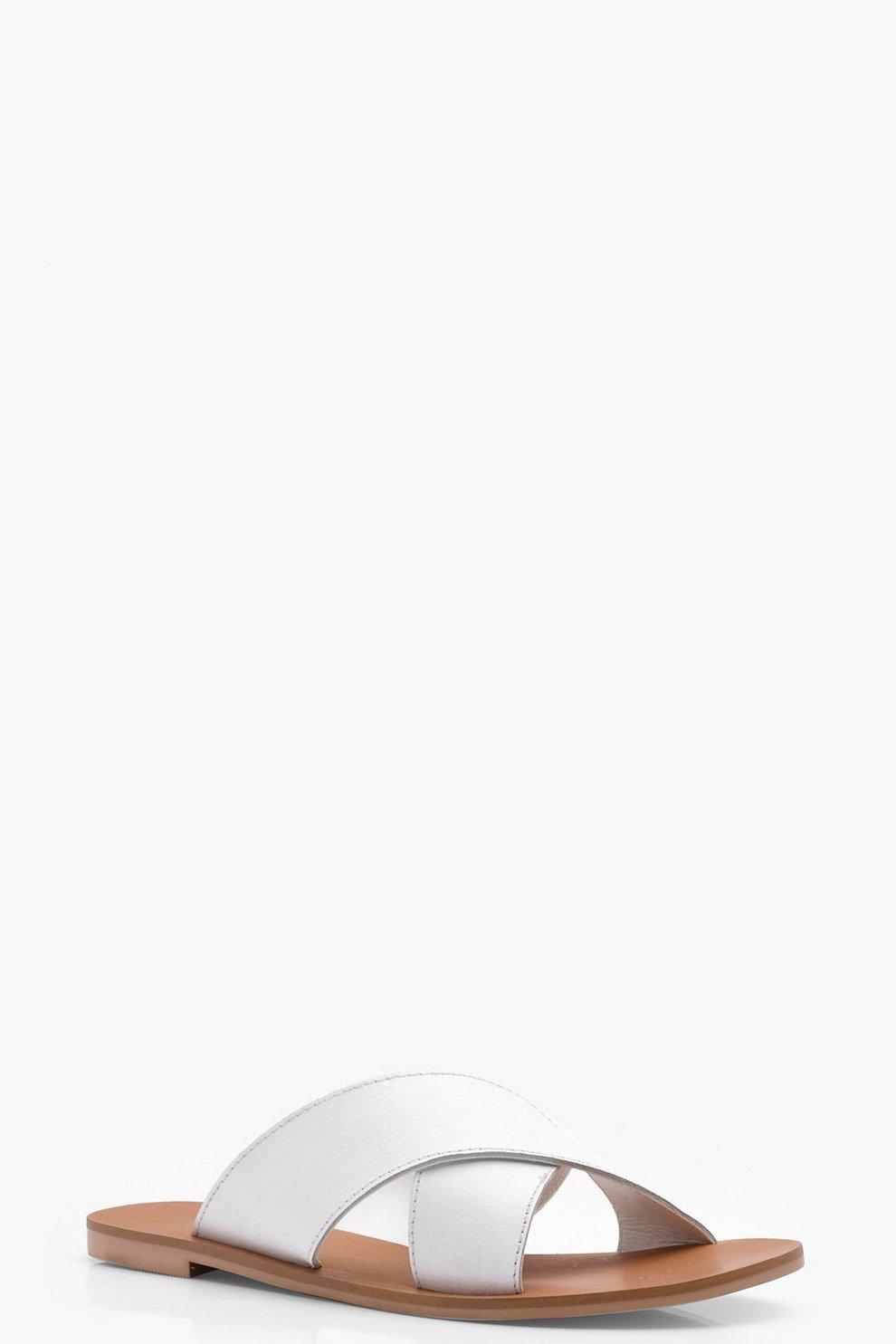 Mejores Precios De Liquidación Las Fechas De Publicación De Descuento Ciabatte in pelle con fascette incrociate a calzata ampia di Rose boohoo neri El Envío Del Descenso DcXM1kjVl4