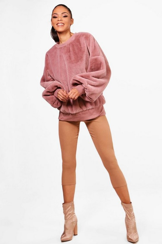 Annie All Over Faux Fur Balloon Sleeve Sweat