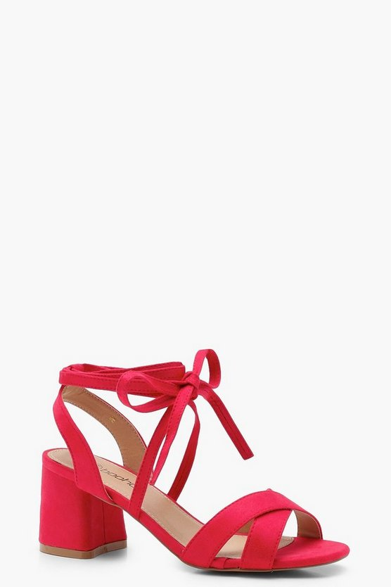 Anna Cross Strap Ankle Wrap Mid Block Heels