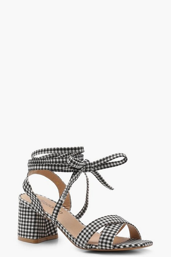 Gingham Cross Strap Ankle Wrap Heels