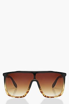 Oversize con visiera occhiali da sole con montatura tartarugata