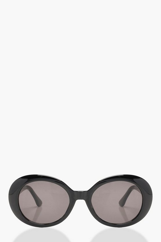 Amy Black Round Oval Sunglasses