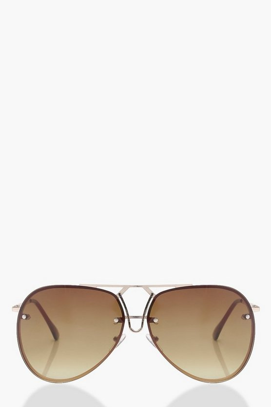 Amy Dip Bar Detail Aviator Sunglasses