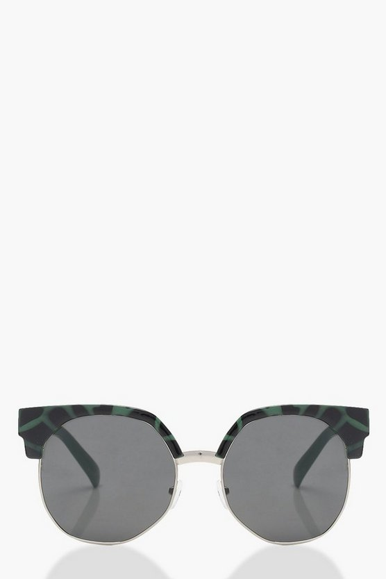 Green Leopard Retro Sunglasses