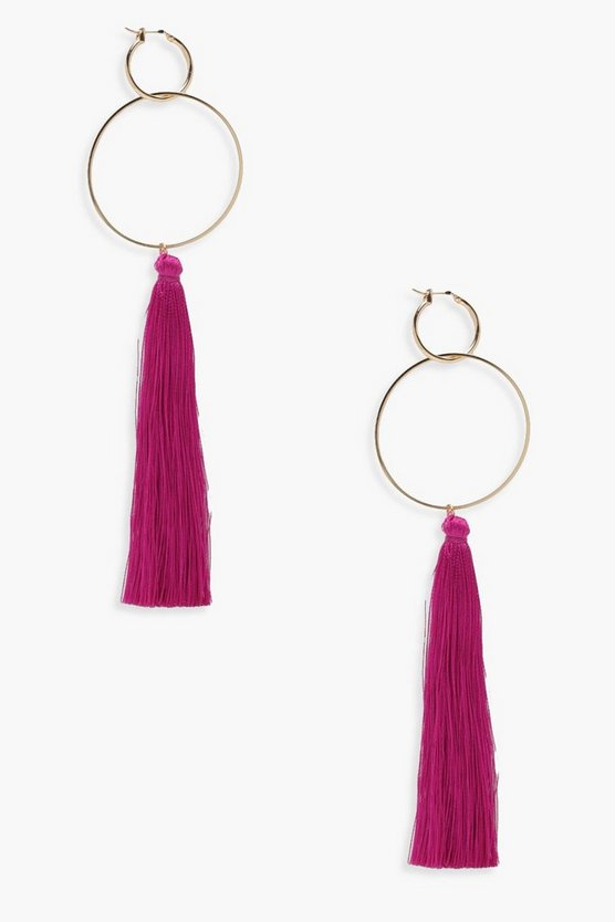 Lisa Hoop Tassel Earrings