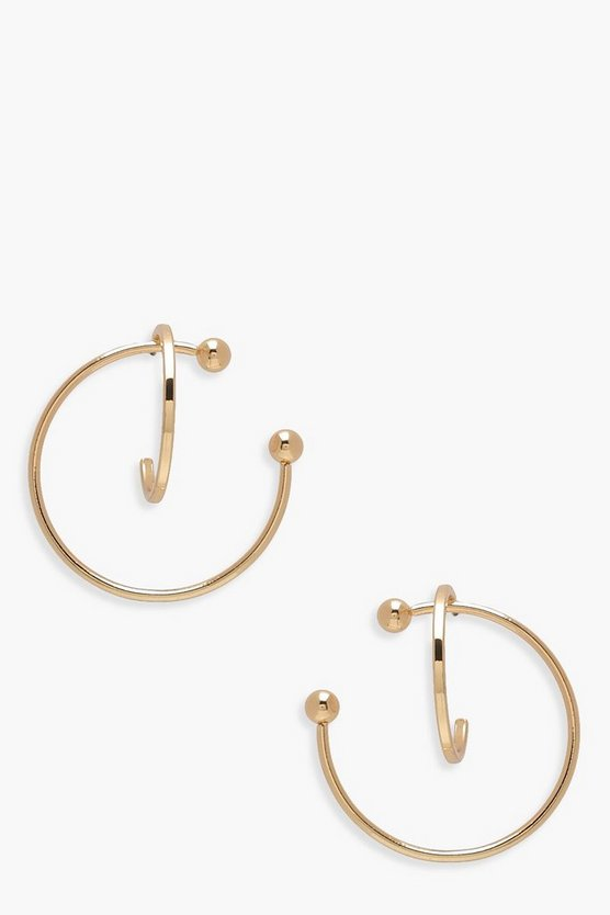 Double Hoop With Ball Detail Earrings