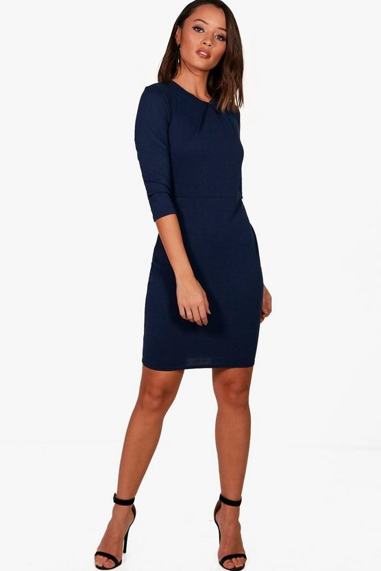 Pleat Front Midi Dress