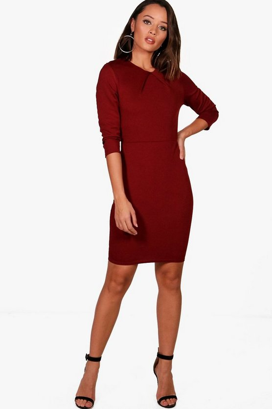Polly Pleat Front Midi Dress