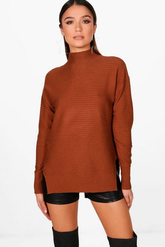 Sadie Ribbed High Neck Jumper