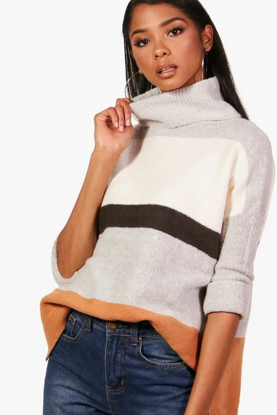 Jamie Colour Block Roll Neck Jumper