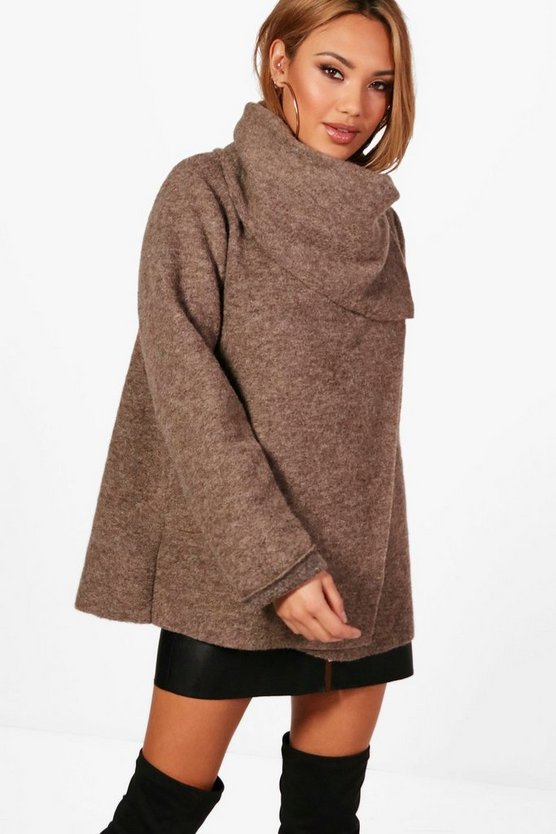Harriet Funnel Neck Wool Coat