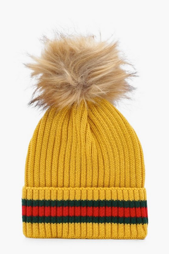 Erin Sport Stripe Ribbed Faux Fur Pom Beanie Hat