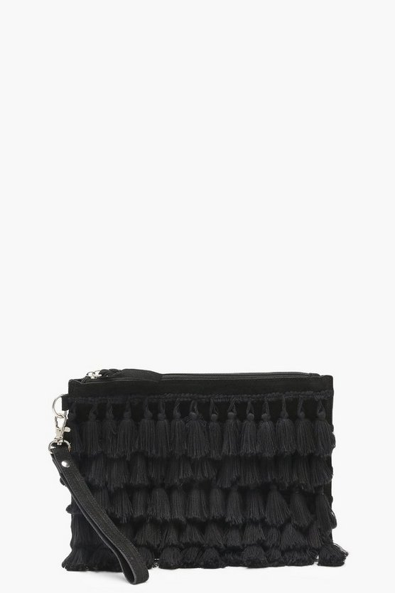 Suede And Tassel Clutch Bag
