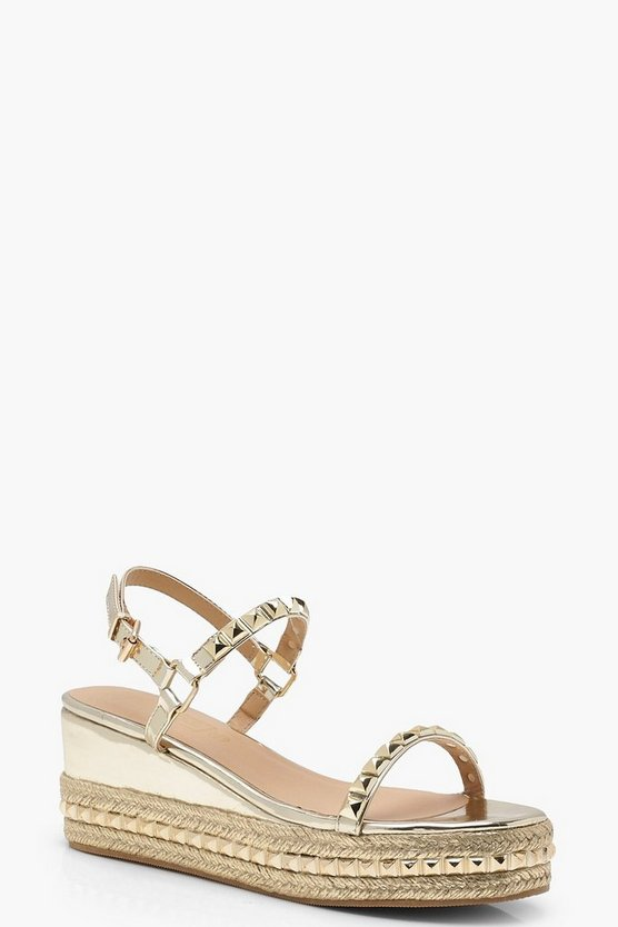 Olivia Metallic Stud Detail Flatform Wedges