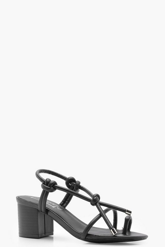 Kayla Knotted Strap Mid Block Heels